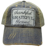 """Thankful Grateful Blessed"" Distressed Trucker Cap"