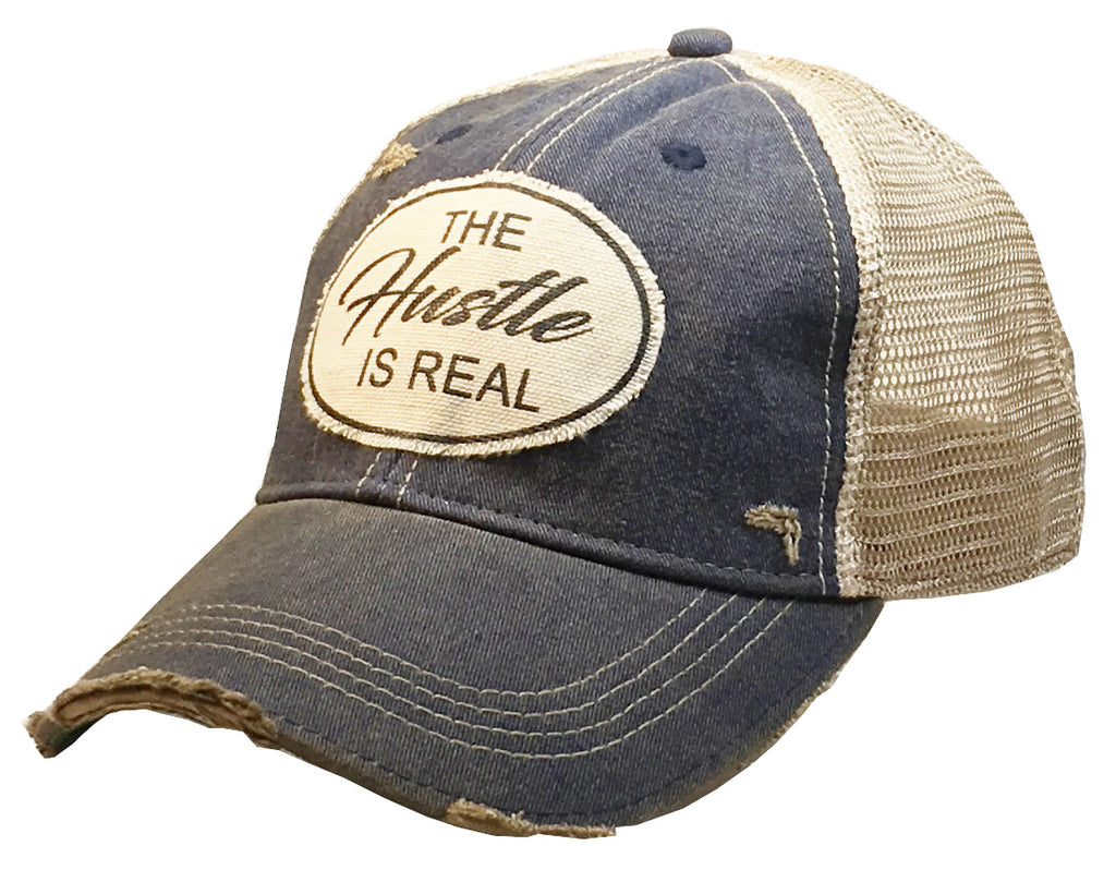 """The Hustle Is Real"" Women's Distressed Trucker Cap"