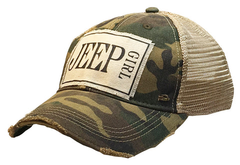 """Jeep Girl""  Women's Distressed Trucker Cap"