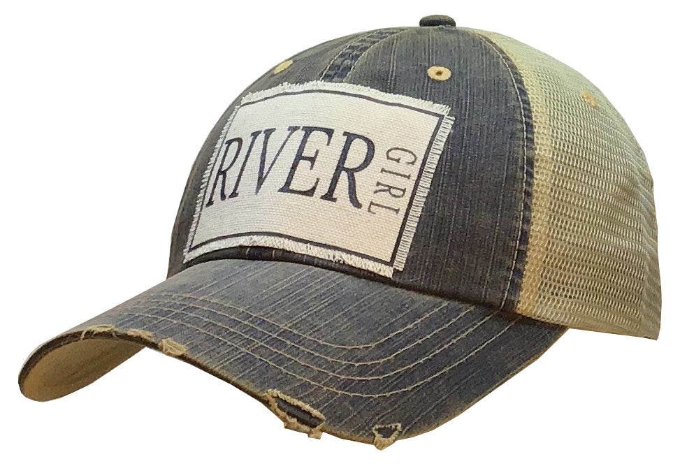 """River Girl"" Distressed Trucker Cap"