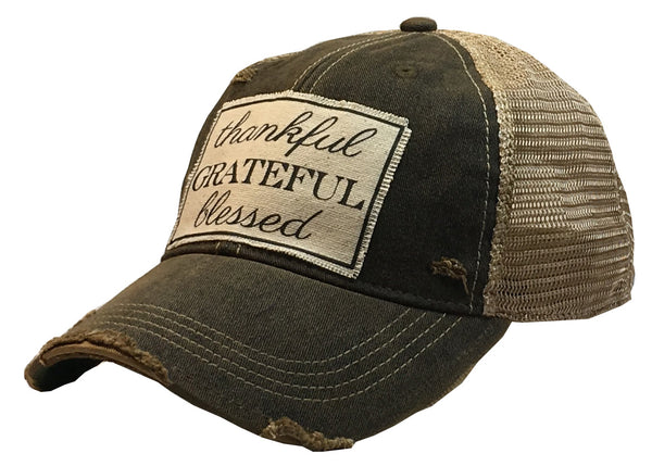 """Thankful Grateful Blessed""  Women's Distressed Trucker Cap"