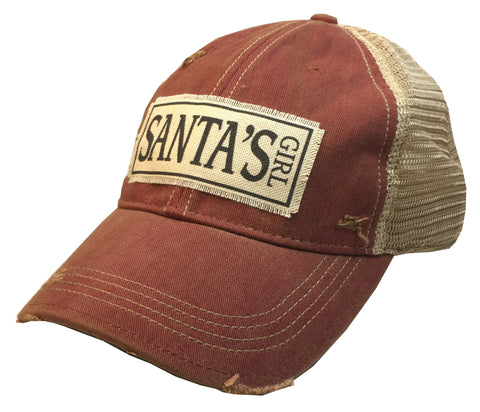 """Santa's Girl""  Women's Distressed Trucker Cap"