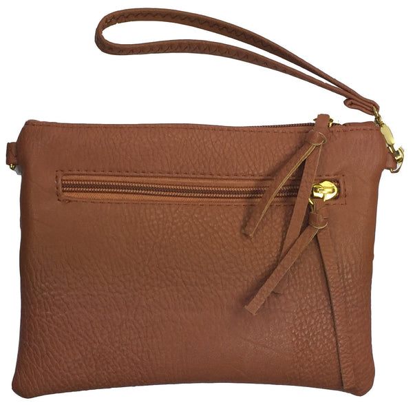 Crossbody Messenger Bag with Triple Zipper- Brown