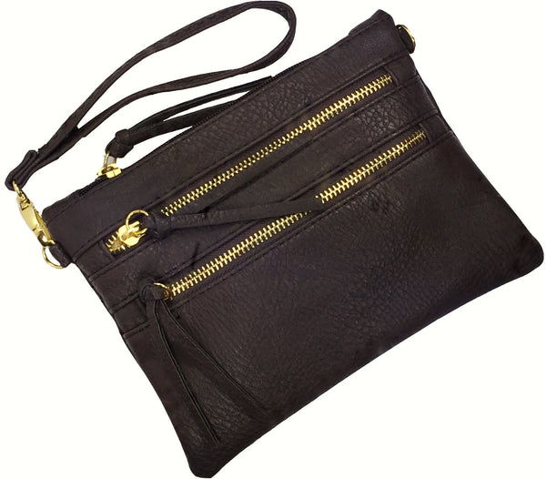 Crossbody Messenger Bag with Triple Zipper-Coffee