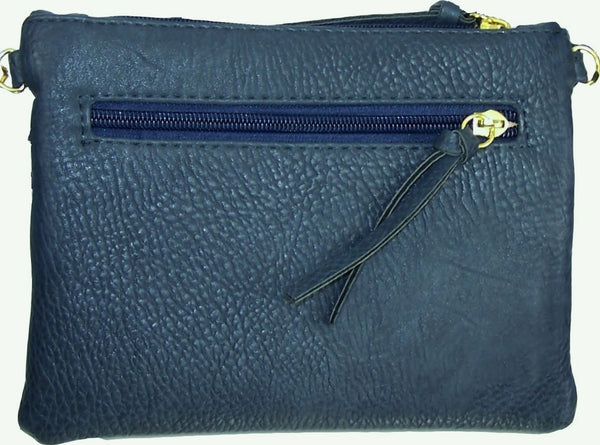 Crossbody Messenger Bag with Triple Zipper-Dark Blue