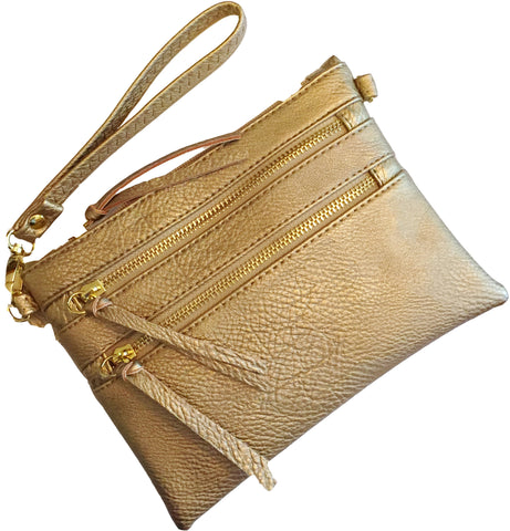 Crossbody Messenger Bag with Triple Zipper- Gold Metalic