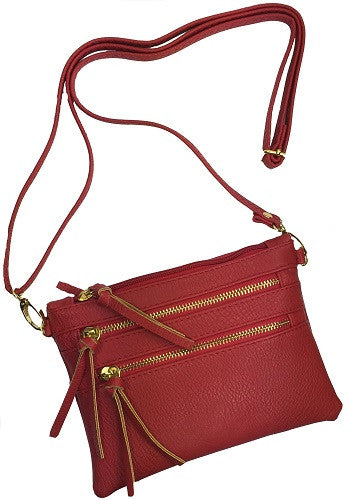 Crossbody Messenger Bag with Triple Zipper- Red