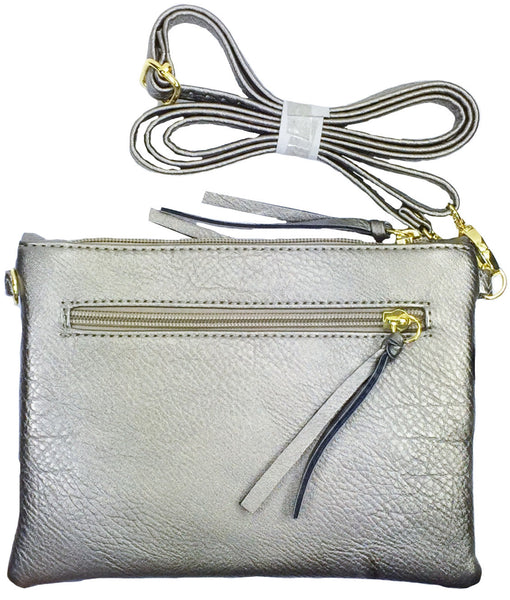 Crossbody Messenger Bag with Triple Zipper- White