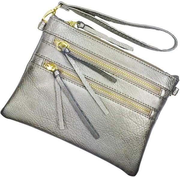 Crossbody Messenger Bag with Triple Zipper- Silver Metalic