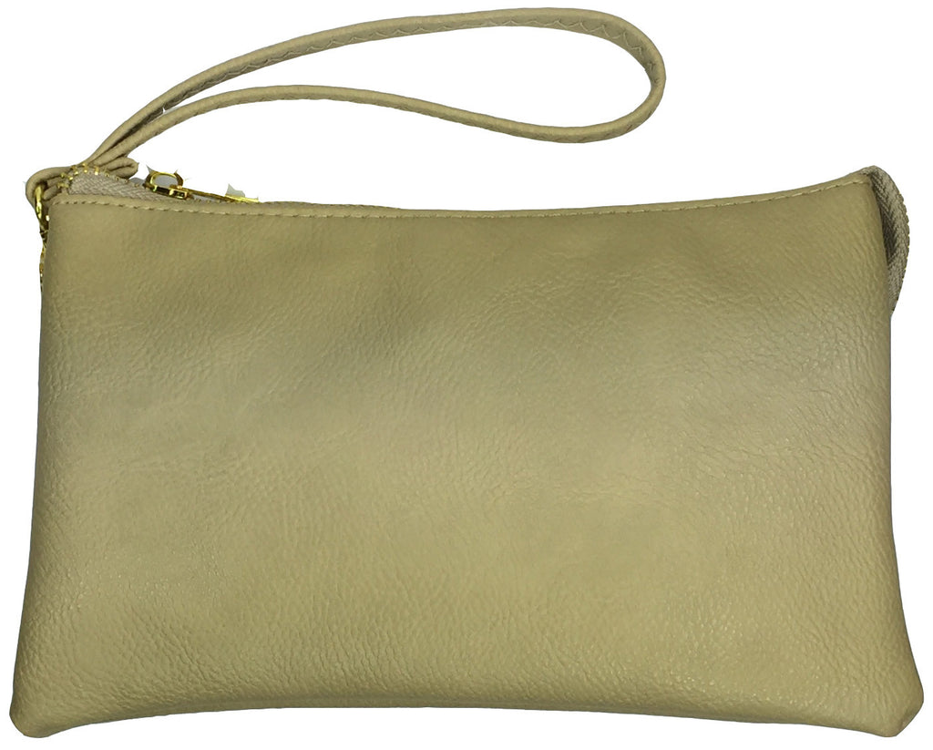 Clutch/Wallet Crossbody with Triple Pockets- Apricot (light beige)