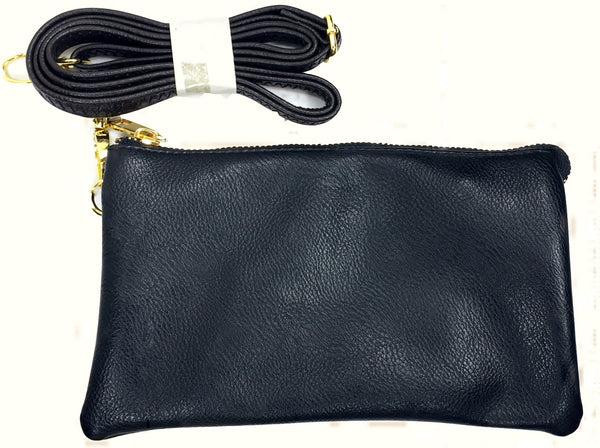 Clutch/Wallet Crossbody with Triple Pockets- Yellow
