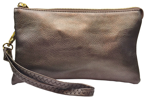 Clutch/Wallet Crossbody with Triple Pockets- Bronze Metalic