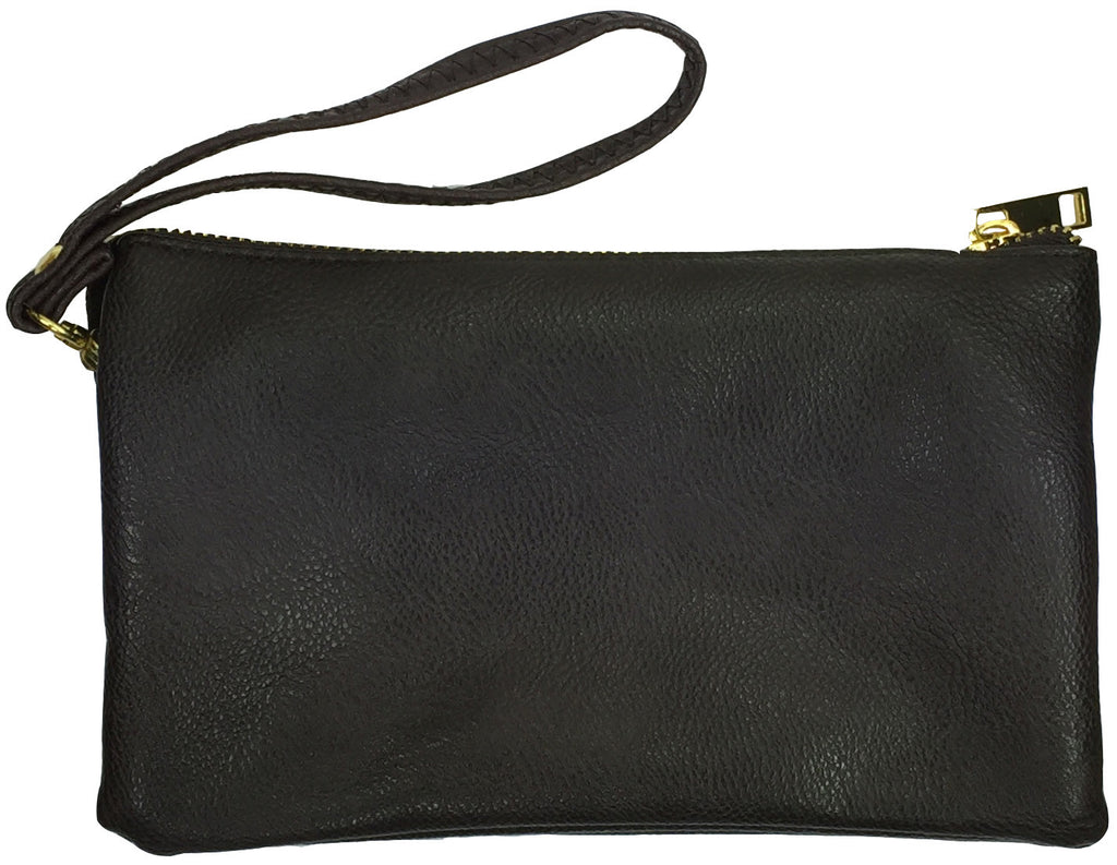Clutch/Wallet Crossbody with Triple Pockets- Coffee