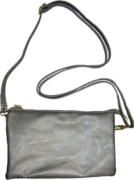 Clutch/Wallet Crossbody with Triple Pockets- Dark Silver Metalic
