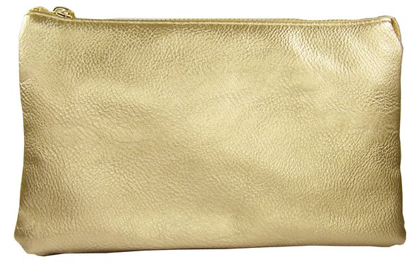 Clutch/Wallet Crossbody with Triple Pockets-Gold Metalic