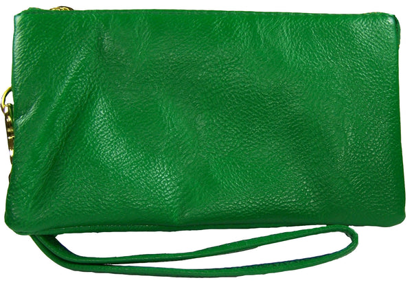 Clutch/Wallet Crossbody with Triple Pockets- Green