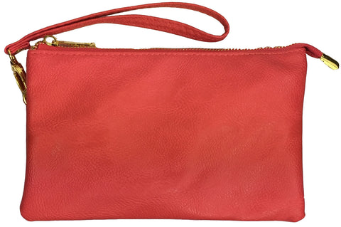 Clutch/Wallet Crossbody with Triple Pockets- Light Red (coral)