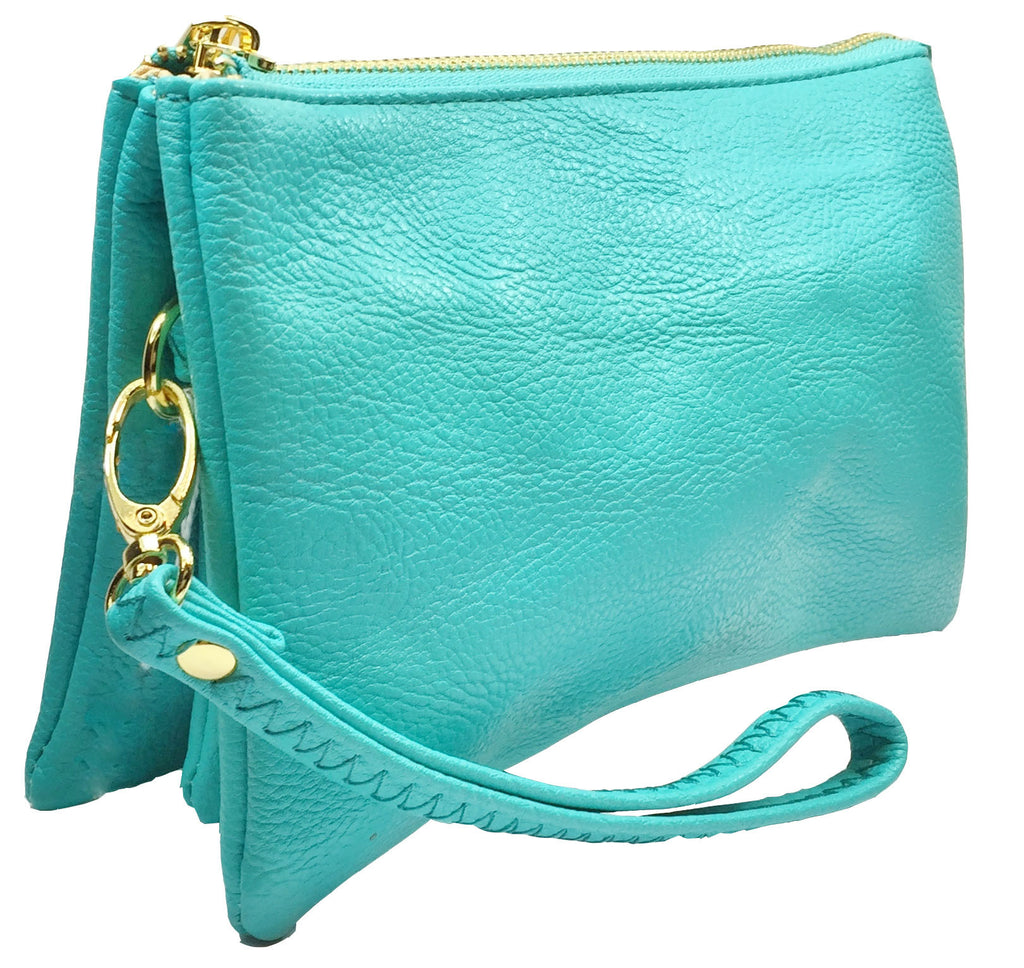 Clutch/Wallet Crossbody with Triple Pockets- Light Blue (turquoise)