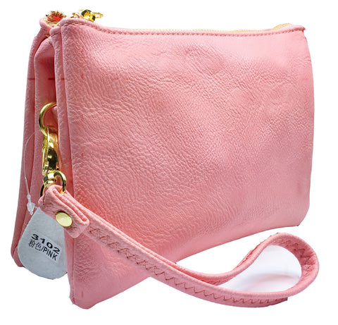 Clutch/Wallet Crossbody with Triple Pockets- Light Pink