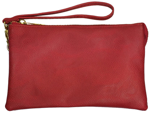 Clutch/Wallet Crossbody with Triple Pockets-Red