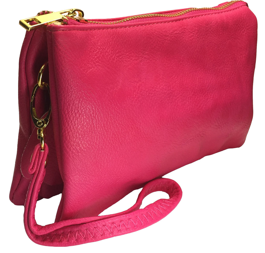 Wallet Crossbody with Triple Pockets- Rose (Fuchsia Hot Pink)
