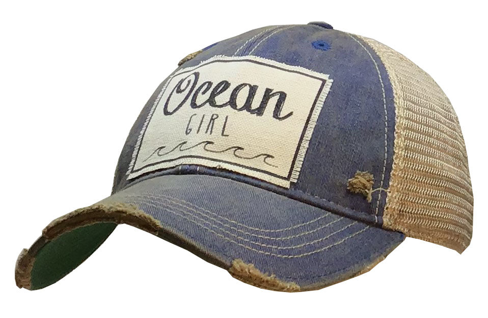 """Ocean Girl"" Distressed Trucker Cap"