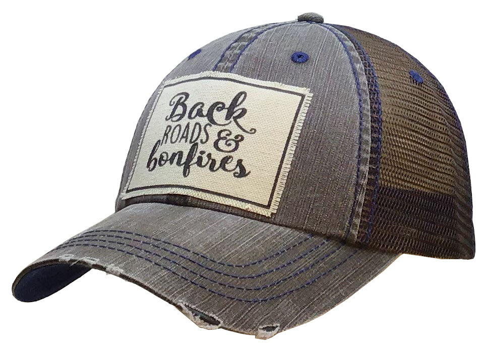 """Back Roads & Bonfires"" Distressed Trucker Cap"
