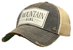 """Mountain Girl"" Distressed Trucker Cap"