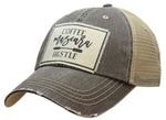 """Coffee Mascara Hustle"" Distressed Trucker Cap"