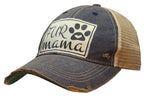 """Fur Mama"" Distressed Trucker Cap"