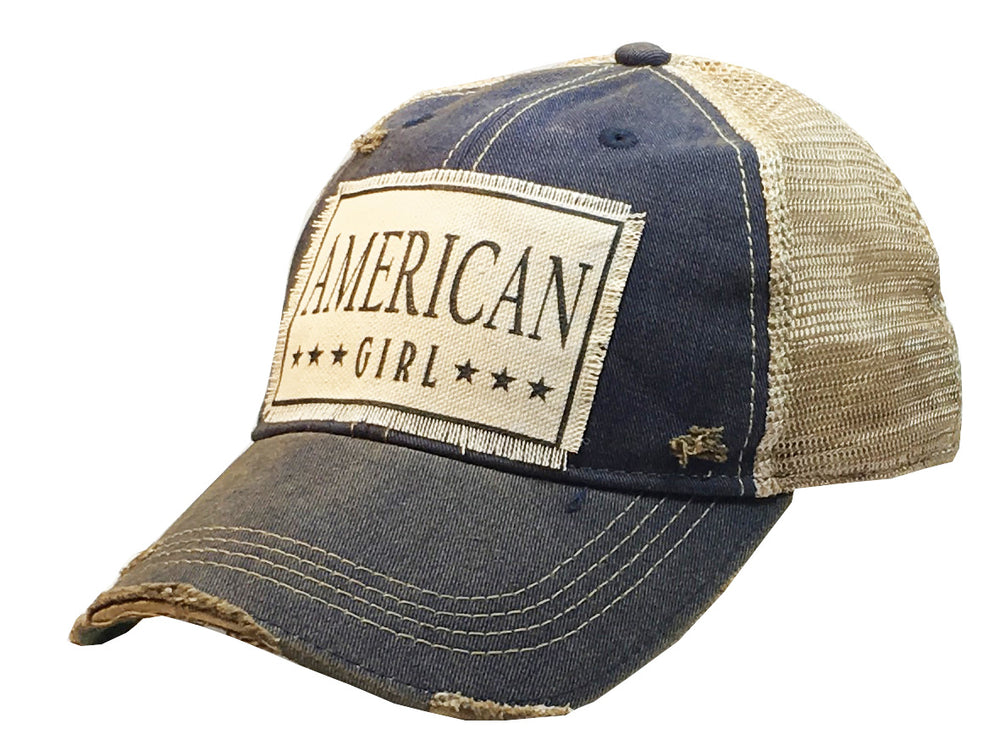 """American Girl"" Distressed Trucker Cap"