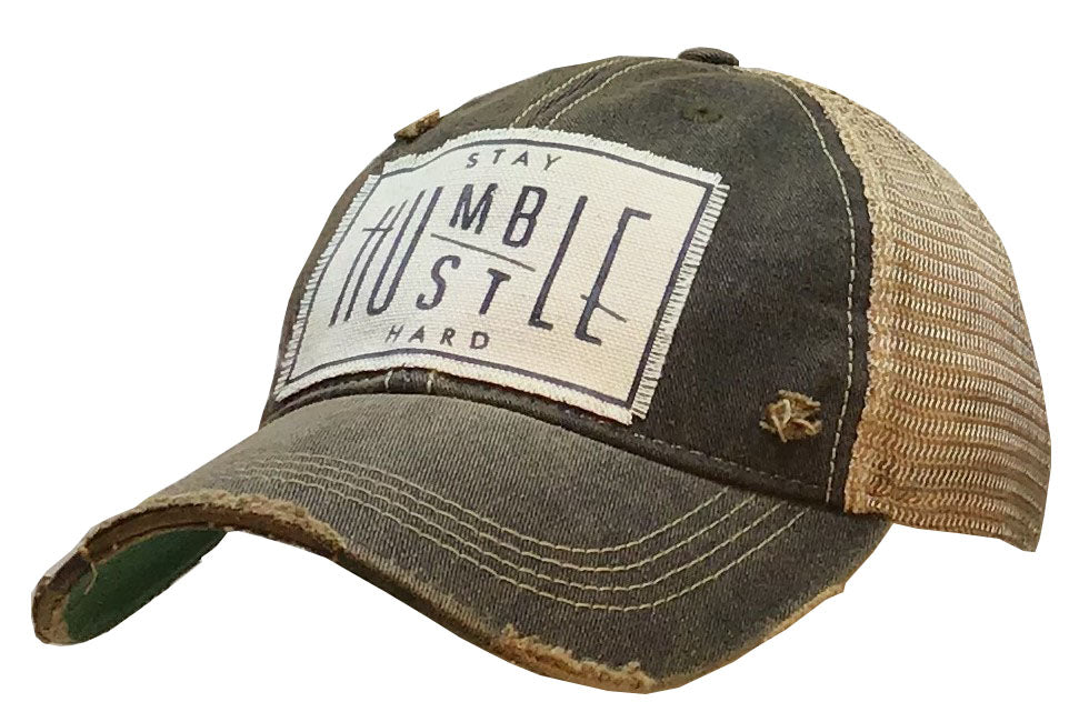 """Stay Humble Hustle Hard"" Distressed Trucker Cap"