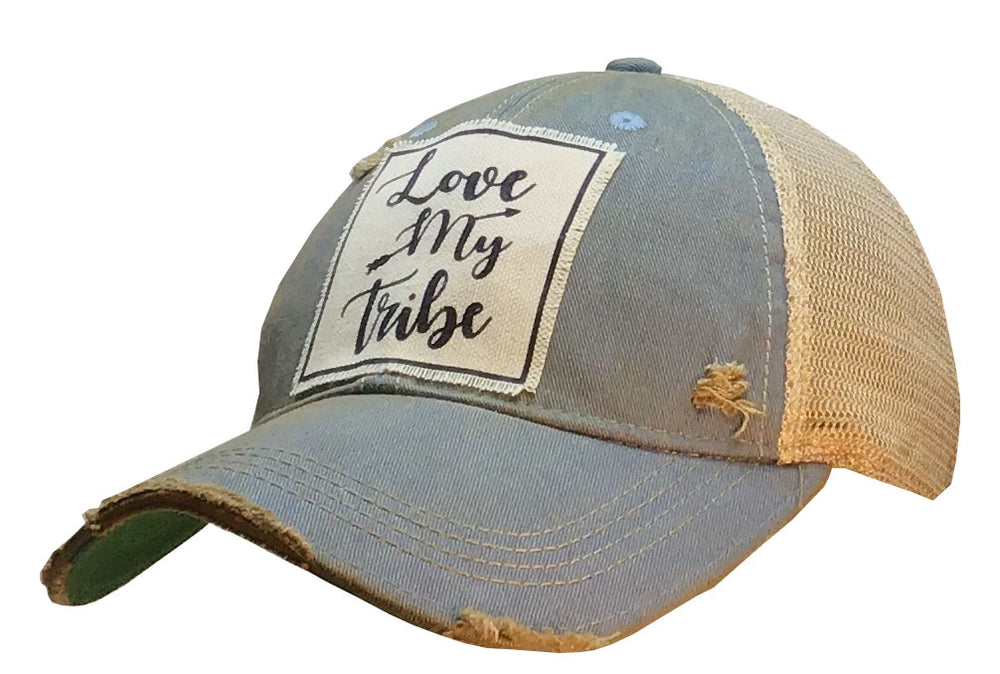 """Love My Tribe"" Distressed Trucker Cap"