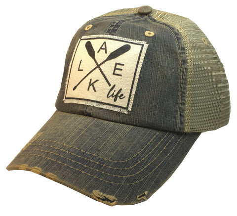 """Lake Life""  Women's Distressed Trucker Cap"