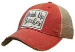 """Drink Up Bitches"" Distressed Trucker Cap"