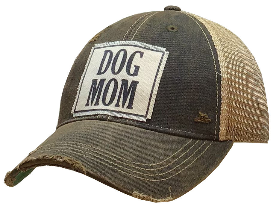 """DOG MOM"" Distressed Trucker Cap"