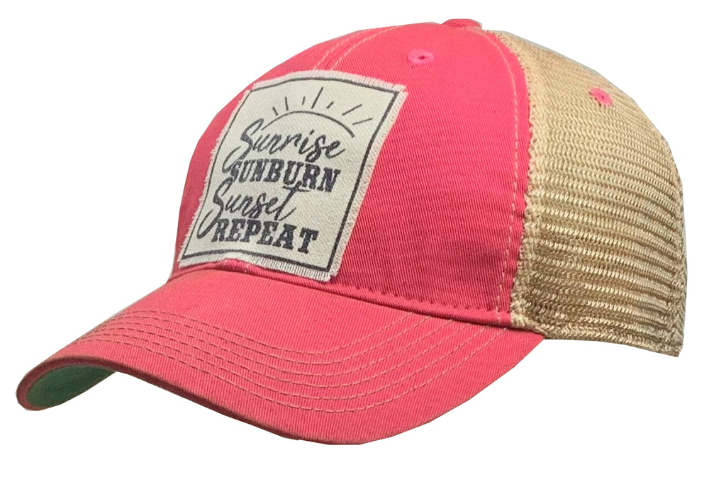 """Sunrise Sunburn Sunset Repeat"" Distressed Trucker Cap"