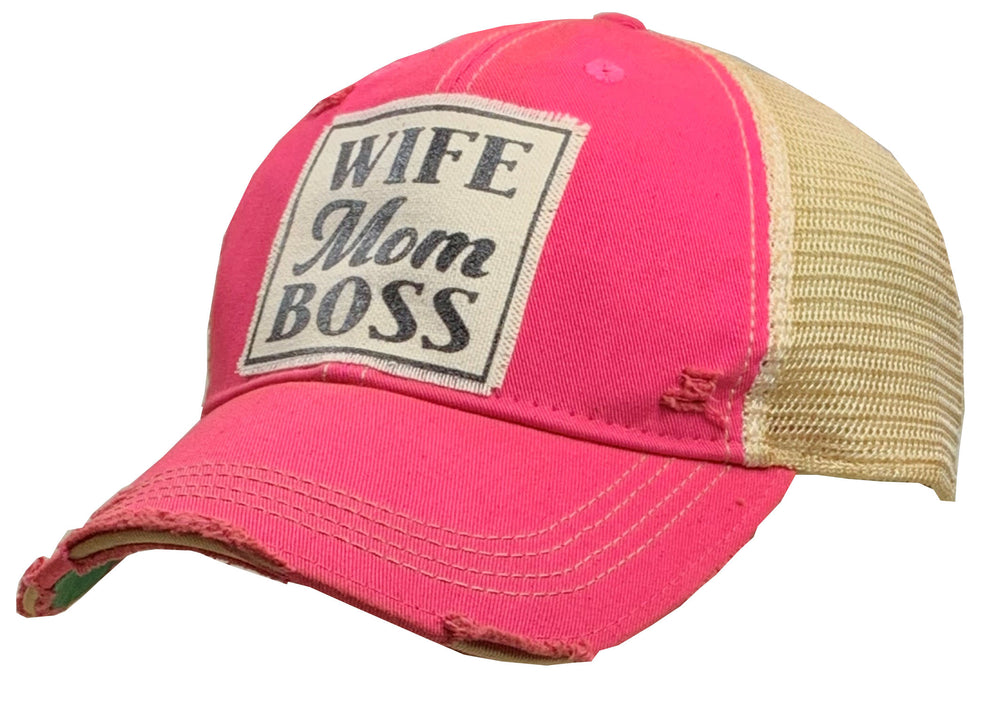 """Wife Mom Boss"" Distressed Trucker Cap"