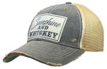"""Sunshine & Whiskey"" Distressed Trucker Cap"