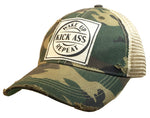 """Wake Up Kick Ass Repeat"" Distressed Trucker Cap"