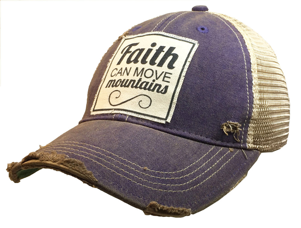"""Faith Can Move Mountains"" Distressed Trucker Cap"