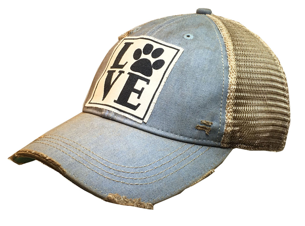 """LOVE (Paw)"" Distressed Trucker Cap"