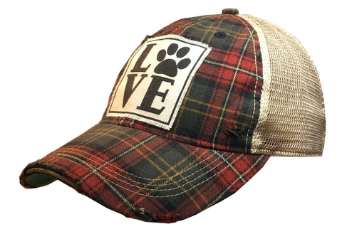 """LOVE (Paw)""  Women's Distressed Trucker Cap"