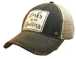 """Corks Are For Quitters"" Distressed Trucker Cap"