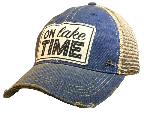 """On Lake Time""  Women's Distressed Trucker Cap"