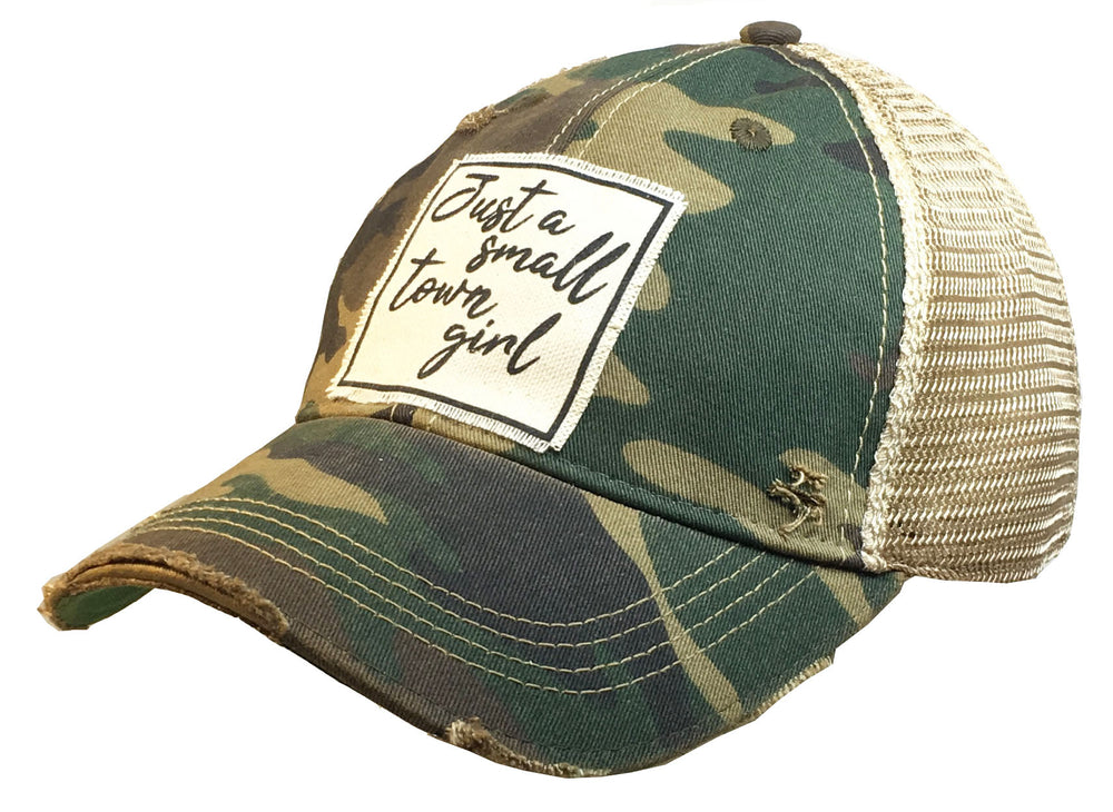 """Just A Small Town Girl"" Distressed Trucker Cap"