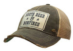 """Boots Beer & Bonfires"" Distressed Trucker Cap"