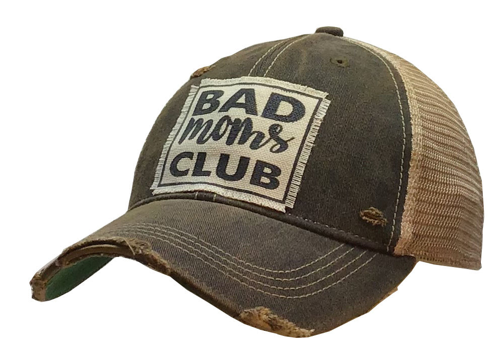 """Bad Mom's Club"" Distressed Trucker Cap"