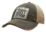 """Drinks Well With Others"" Distressed Trucker Cap"