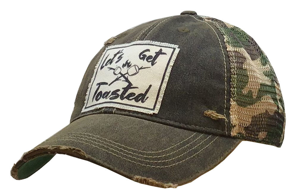 """Let's Get Toasted"" Distressed Trucker Cap"
